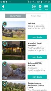 screen shots from the Cowra Voices app